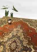NIEUW Vintage wollen tapijt oranje met groen