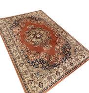 VERKOCHT Vintage donker roze wollen tapijt 1.70x2.40